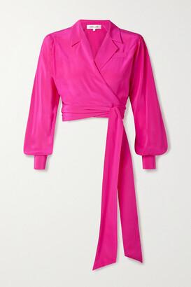 DIANE VON FURSTENBERG - Stephanie Cropped Silk Crepe De Chine Wrap Top - Pink