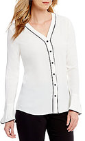 Calvin Klein V-Neck Flare Sleeve Contrast Pipe Trim Blouse
