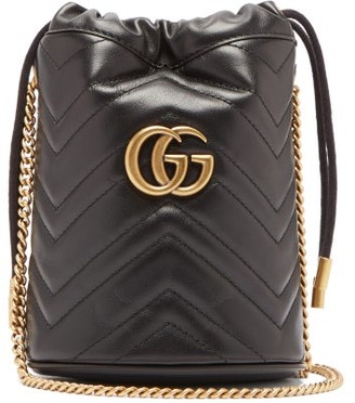 Gucci Gg Marmont Leather Bucket Bag - Womens - Black