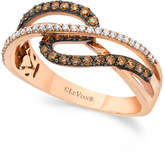 LeVian Chocolate by Petite Le Vian® Chocolate and White Diamond (3/8 ct. t.w.) Ring in 14k Rose Gold