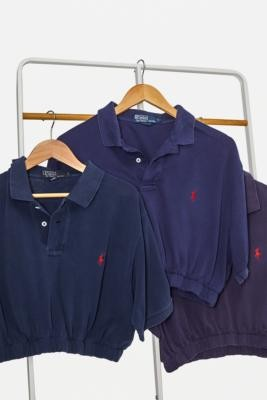 Urban Renewal Vintage Remade From Vintage Navy Branded Bubble Polo Shirt - Blue M/L at Urban Outfitters