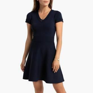Naf Naf Knitted Skater Dress with Short-Sleeves