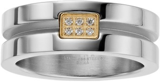 Men's Two Tone Stainless Steel Cubic Zirconia Channel Ring