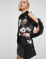 Religion Sheer Shirt With Cold Shoulder Frills And Floral Imagery
