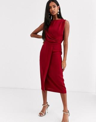 ASOS DESIGN sleeveless wrap midi dress in burgundy
