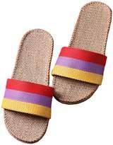 Freewent Women's Comfortable Silent Antiskid Cotton Flax Indoor Slippers Open Toe 39-40