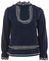 Topshop Embroidered poplin top