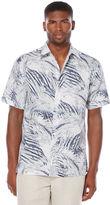 Cubavera Short Sleeve Allover Tropical Leaf Print Shirt