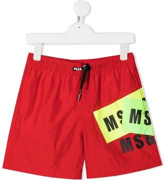 Msgm Kids Logo Print Swim Shorts