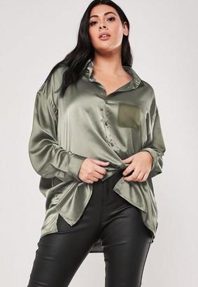 Missguided Size Sage Chiffon Pocket Satin Shirt