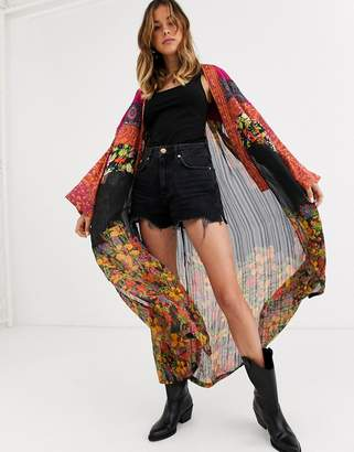 Free People The Young Love patchwork print kimono jacket-Multi