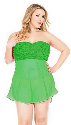 Coquette Women's Plus Queen Size Mesh Babydoll with Ruffle
