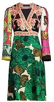 Etro Women's Patchwork Brushed V-Neck Silk Dress