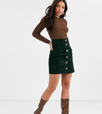 Asos DESIGN Tall button front cord pelmet mini skirt