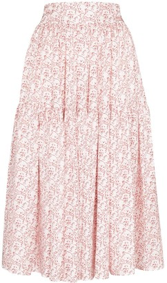 Shrimps Ray cat print tiered skirt