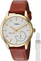 Timex Women's TWG013600 IQ+ Move Activity Tracker Brown Leather Strap Watch Set With Extra White Silicone Strap