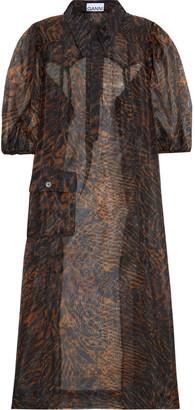 Ganni Oversized Tiger-print Organza Midi Dress