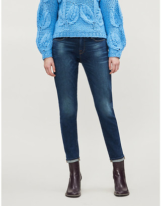 Frame Ladies Blue Cotton Le Garcon Mid-Rise Straight Jeans, Size: 23