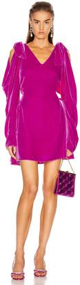 Les Rêveries Bow Shoulder Velvet Mini Dress in Fuchsia Velvet | FWRD