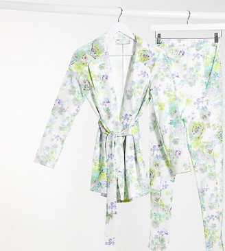 ASOS DESIGN Maternity jersey wrap suit blazer in white floral