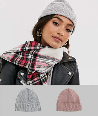 Asos Design DESIGN 2 pack fisherman rib beanie hat in pink and light grey in recycled polyester-Multi