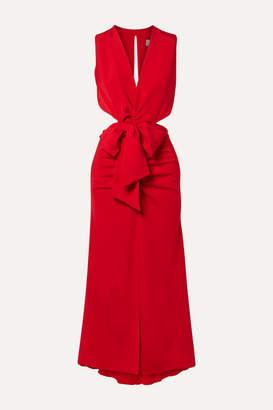 Silvia Tcherassi Devaray Cutout Stretch-silk Crepe De Chine Midi Dress - Red