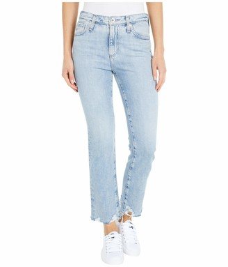 AG Jeans Women's Isabelle HIGH-Rise Straight Leg Crop Jean with Destroyed Hem