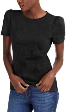 INC International Concepts Inc Slub Puff-Sleeve T-Shirt, Created for Macy's