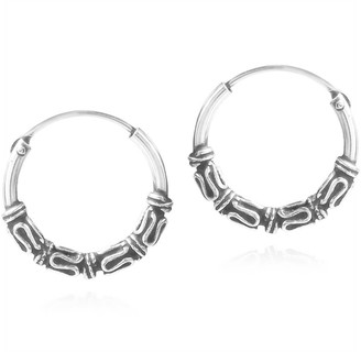 Aeravida Handmade Balinese Interlace Tribal Ornate Sterling Silver Hoop Earrings