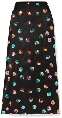 Rixo Kelly Sequin-embellished Silk And Tencel-blend Satin Midi Skirt