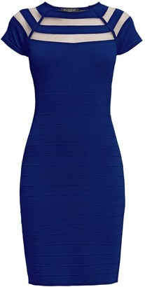Catherine Blue Bodycon Dress with Cut-Out Detail