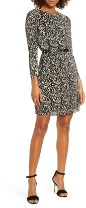 Sam Edelman Leopard Print Micropleat Belted Long Sleeve Dress