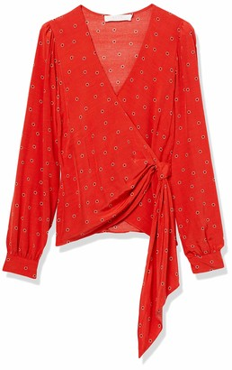 ASTR the Label Women's Olympia Long Sleeve Side Wrap Blouse