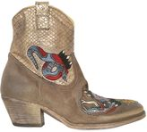 Elena Iachi 50mm Suede & Snake Effect Ankle Boots