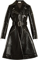 Sara Battaglia Flared-hem patent faux-leather biker coat