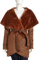 G.E.T. Faux Shearling Lined Wrap Coat, Brown