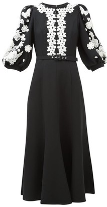 Andrew Gn Balloon-sleeve Lace-trimmed Crepe Dress - Womens - Black White