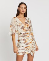 Shona Joy Marquis Flutter Sleeve Ruched Mini Dress