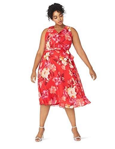 Plus Size Womens Sleeveless V-Neck Fit & Flare Dress