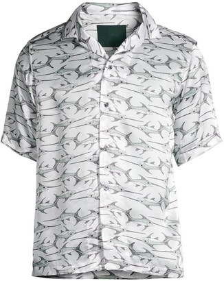 Roi Du Lac Swordfish-Print Short-Sleeve Shirt