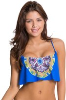 Red Carter Sun Goddess Flounce Cross Back Bikini Top 8124178