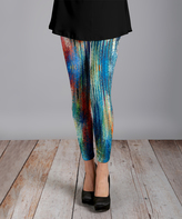 Lily Blue & Green Abstract Slim-Leg Pants - Plus Too