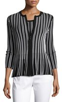 St. John Kiklos Striped Zip-Front Jacket, Caviar/Bianco