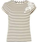 Dorothy Perkins Womens Petite Pink Striped Floral Applique T-Shirt