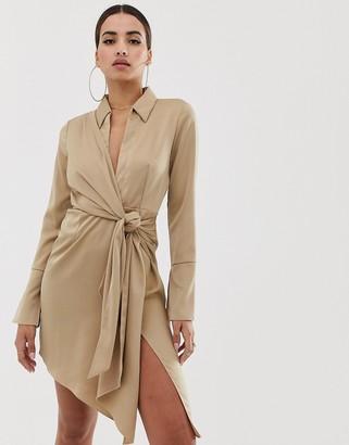 Asos Design DESIGN mini satin shirt dress with tie waist-Beige