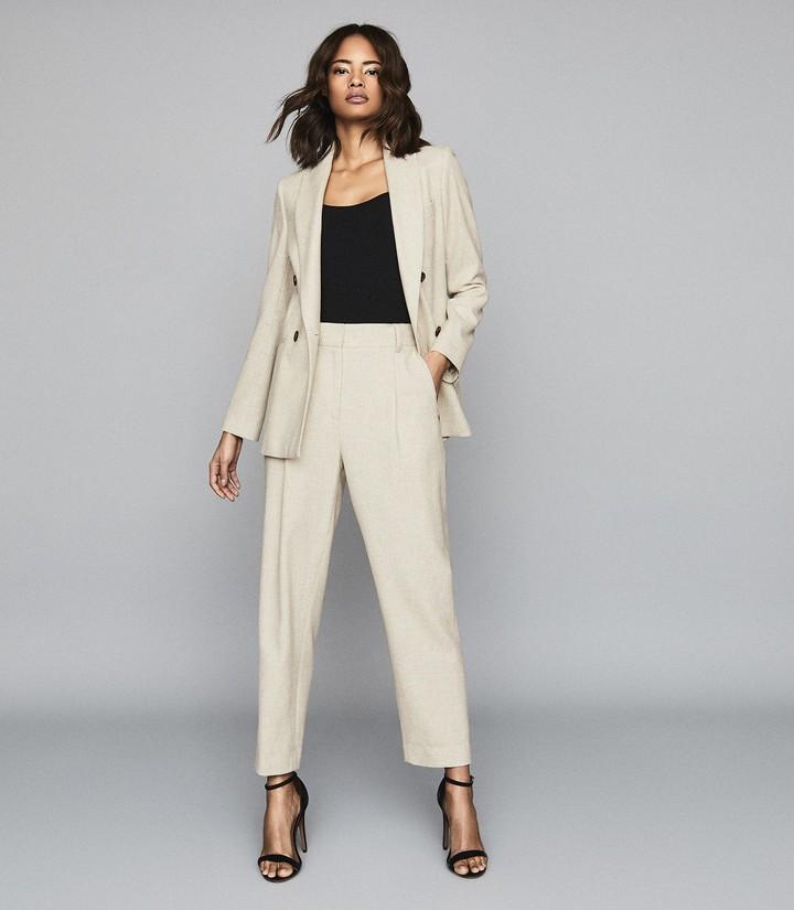 Reiss Lauren Jogger - Wool Linen Blend Formal Jogger in Oatmeal