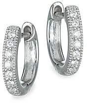 "Jude Frances Women's Classic Diamond & 18K White Gold Huggie Hoop Earrings/0.5"""