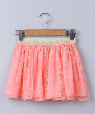 Beebay Girls' Casual Skirts Peach - Peach & Gold Floral Lace Skirt - Newborn, Infant & Toddler