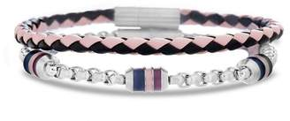 Ben Sherman Stainless Steel & Braided Leather Bracelet