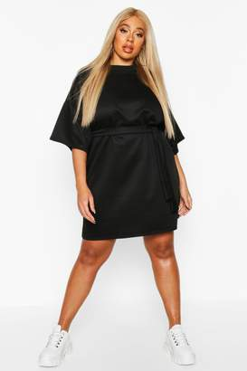 boohoo Plus Loopback Short Sleeve Tie Waist Dress